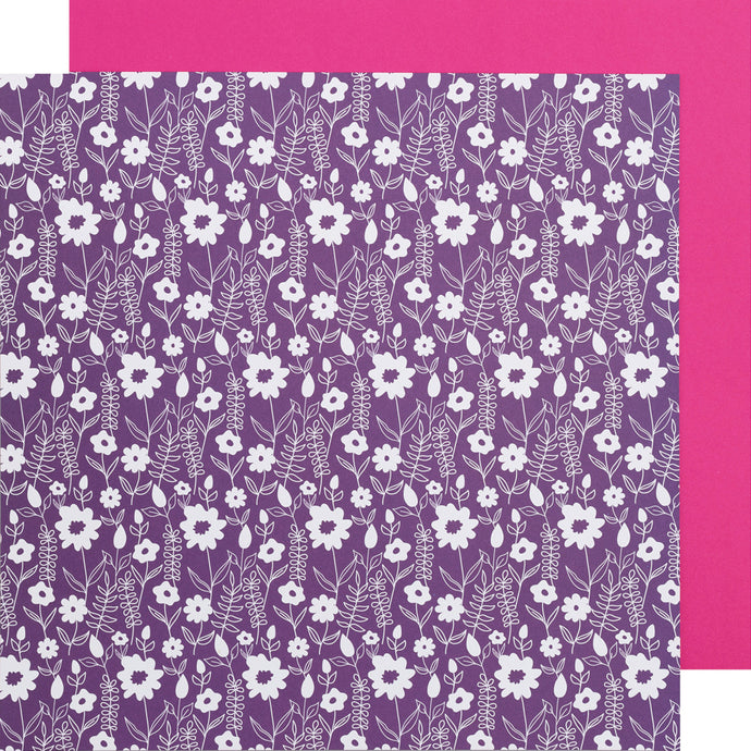 Purple Flowers - 12x12 double-sided patterned paper from DCWV