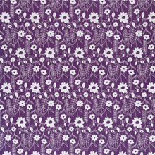 Load image into Gallery viewer, 12x12 patterned paper with white floral print on purple background - DCWV
