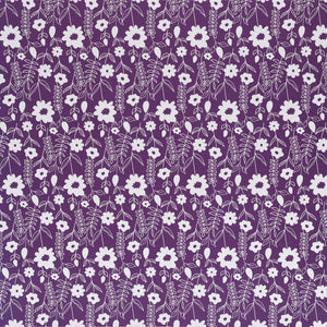 12x12 patterned paper with white floral print on purple background - DCWV