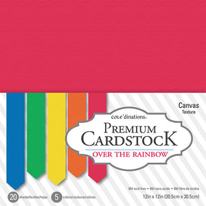 core'dinations OVER THE RAINBOW 12x12 Cardstock Pack - 5 colors - 20 sheets