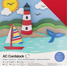 Load image into Gallery viewer, PRIMARY Variety Pack - 12x12 Cardstock from American Crafts - 60 sheets