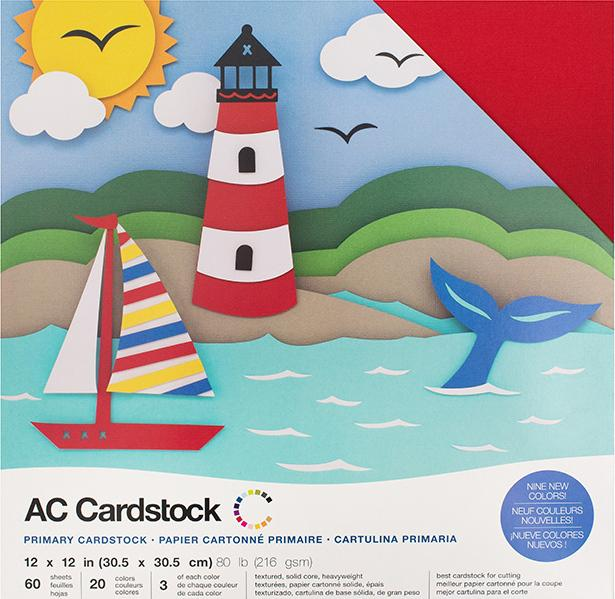 PRIMARY Variety Pack - 12x12 Cardstock from American Crafts - 60 sheets