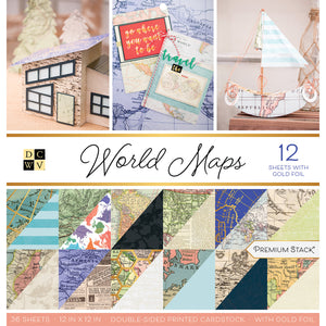 WORLD MAPS Premium Stack - 36 double-sided pages - 12 with gold foil - DCWV