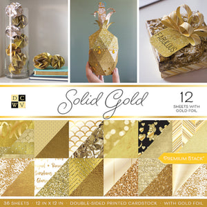 SOLID GOLD Premium Stack - 36 sheets - 12 with gold foil - DCWV
