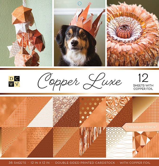 COPPER LUXE Premium Cardstock Stack - 36 12x12 sheets including 12 with copper foil - DCWV