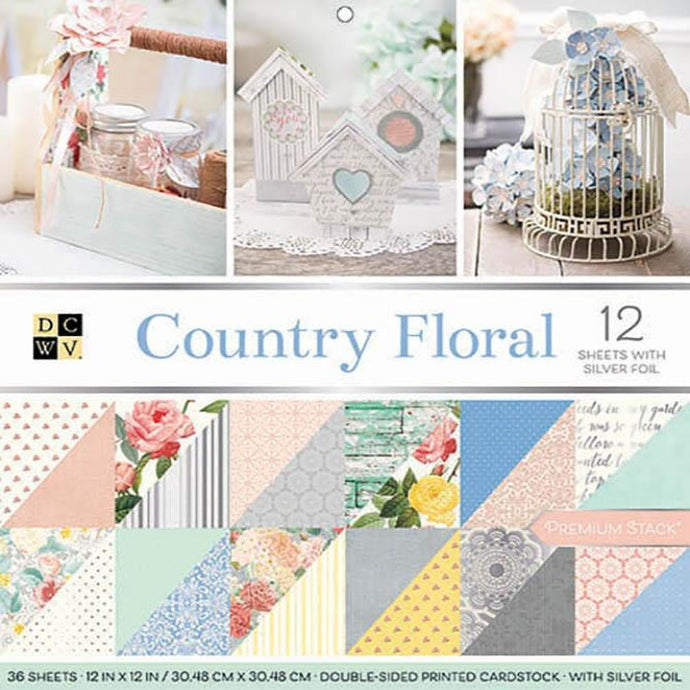 Country Floral 36 Sheet Premium Stack with Silver Foil Accents from DCWV