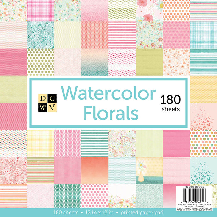 12x12 Watercolor Florals 180 sheet stack from DCWV includes 3 sheets each of 60 designs