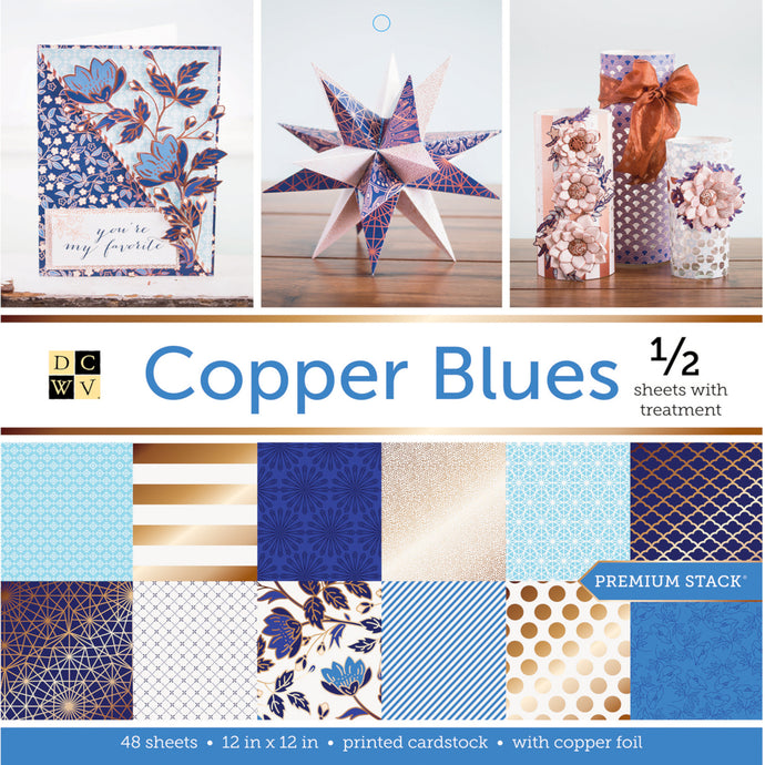 DCWV COPPER BLUES 48 sheet Premium Stack - 24 sheets have copper foil accents