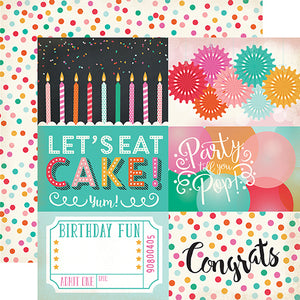 """4x6 Journaling Cards"" 12x12 double-sided designer cardstock is part of PARTY TIME collection kit by Echo Park Paper Co."