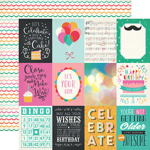"""3x4 Journaling Cards"" 12x12 double-sided designer cardstock is part of PARTY TIME collection kit by Echo Park Paper Co."