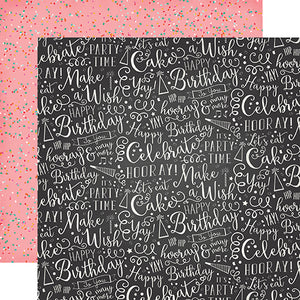 """Hooray"" 12x12 double-sided designer cardstock is part of PARTY TIME collection kit by Echo Park Paper Co."