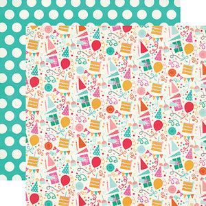 """It's Your Day"" 12x12 double-sided designer cardstock is part of PARTY TIME collection kit by Echo Park Paper Co."