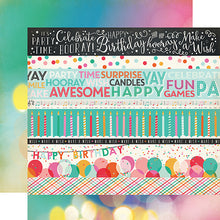 "Load image into Gallery viewer, ""Border Strips"" 12x12 double-sided designer cardstock is part of PARTY TIME collection kit by Echo Park Paper Co."