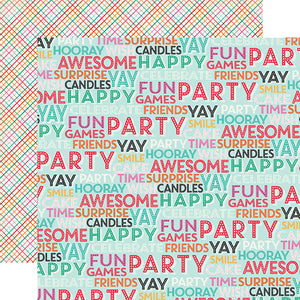 """Surprise Party"" 12x12 double-sided designer cardstock is part of PARTY TIME collection kit by Echo Park Paper Co."