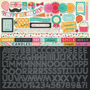 Alphabet stickers coordinate with PARTY TIME page collection kit by Echo Park Paper Co.