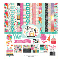 Load image into Gallery viewer, PARTY TIME page collection kit includes 12 double-sided cardstock sheets and coordinated sticker elements - by Echo Park Paper Co.