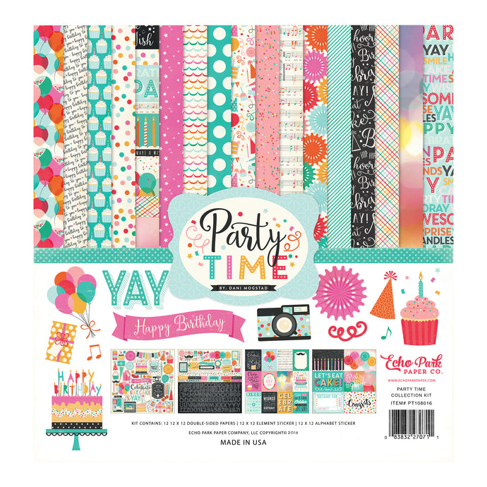 PARTY TIME page collection kit includes 12 double-sided cardstock sheets and coordinated sticker elements - by Echo Park Paper Co.