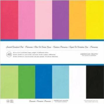 Primaries - cardstock variety pack - 48 ct - 12x12 inch - 80 lb - smooth scrapbook paper - American Crafts