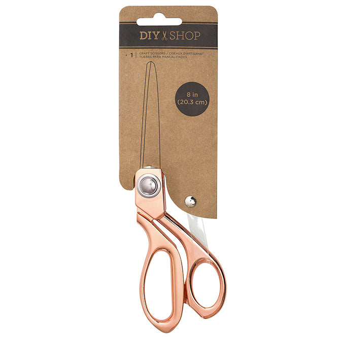 8 inch paper craft scissors with rose gold finish from American Crafts DIY Shop