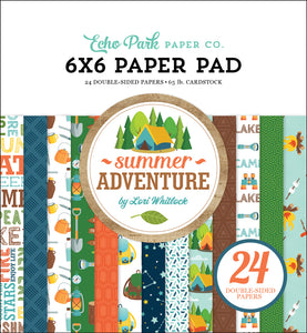SUMMER ADVENTURE 6x6 cardstock pad with 24 double-sided pages from Echo Park Paper Co.