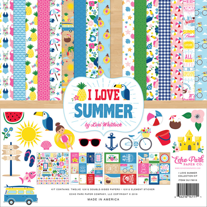 I LOVE SUMMER 12x12 collection kit celebrates the joys of summer - Echo Park Paper