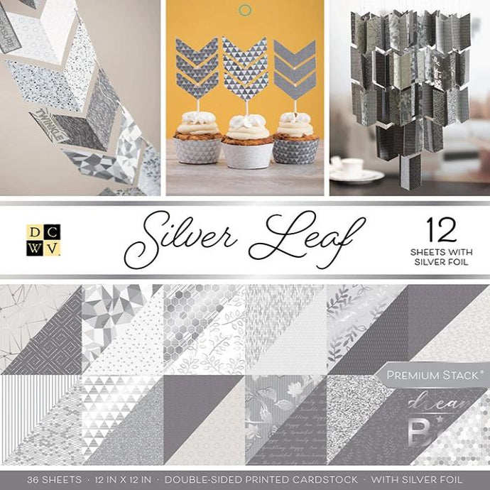 SILVER LEAF Premium Stack - 36 12x12 cardstock sheets - different patterns front and back - Die Cuts With a View