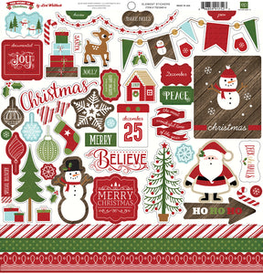 12x12 sheet of Element Stickers from The Story of Christmas Collection Kit by Echo Park Paper Co.
