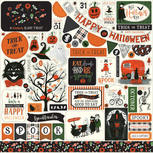 12x12 sheet of Element stickers which coordinate with Trick or Treat Collection from Echo Park Paper Co.