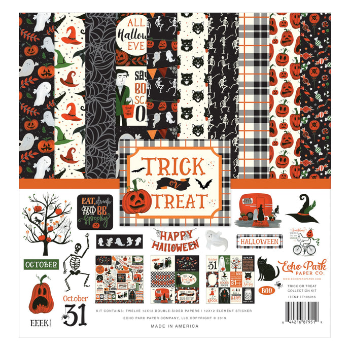 Trick or Treat Collection Kit by Echo Park Paper includes 12 unique sheets of double-sided paper with Halloween themes