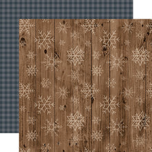 Load image into Gallery viewer, Wooden Snowflakes - double-sided 12x12 cardstock from Warm & Cozy Collection by Echo Park Paper Co.