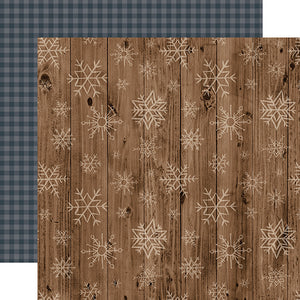 Wooden Snowflakes - double-sided 12x12 cardstock from Warm & Cozy Collection by Echo Park Paper Co.