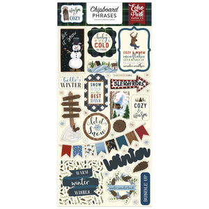 Chipboard Phrases with adhesive backing to coordinate with Warm and Cozy Collection from Echo Park Paper Co.