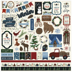 12x12 Sheet of Elements stickers that coordinate with the Warm and Cozy crafting set by Echo Park Paper Co.