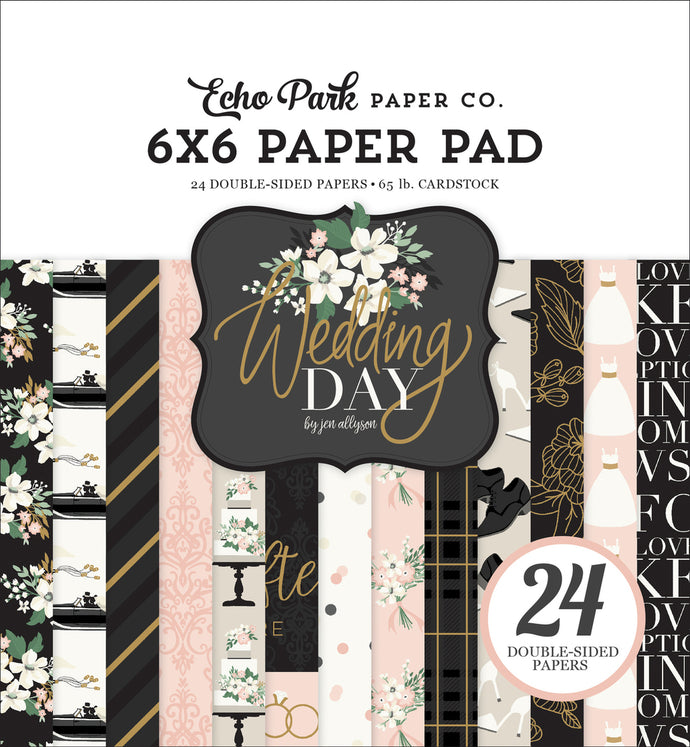 WEDDING DAY 6x6 cardstock pad with 24 double-sided pages from Echo Park Paper Co.