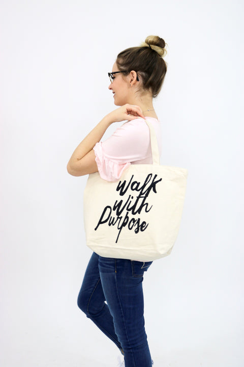Walk With Purpose Canvas Tote Bag