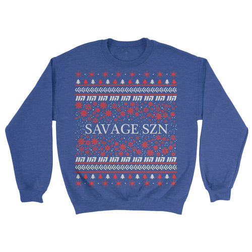 Savage SZN Blue Holiday Sweater