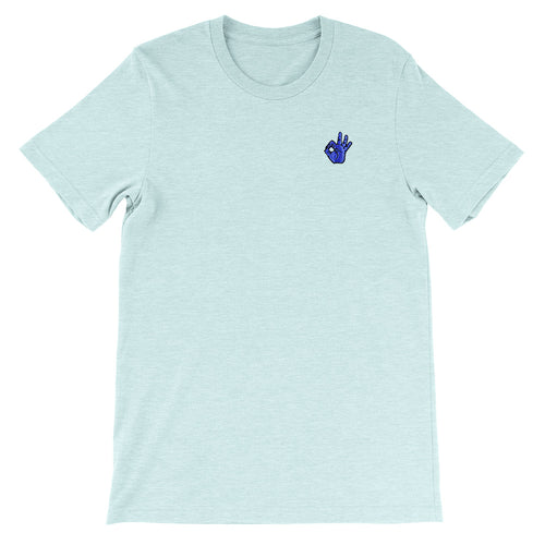 OK Hand Embroidered Unisex T-Shirt Heather Prism Ice Blue