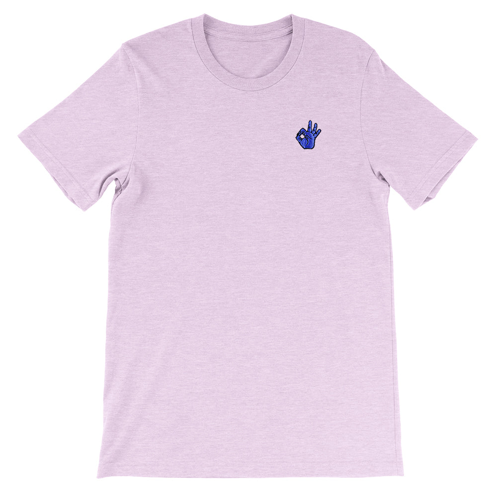 OK Hand Embroidered Unisex T-Shirt Heather Prism Lilac