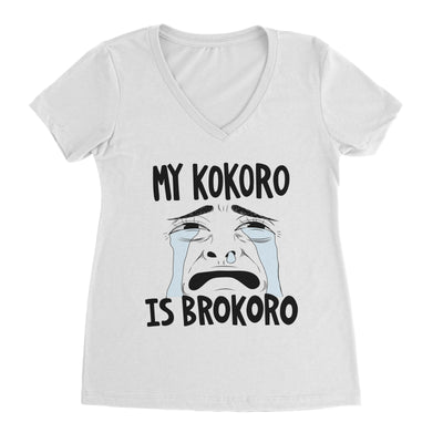 My Kokoro Is Brokoro (Ugly) - Ladies V Neck White