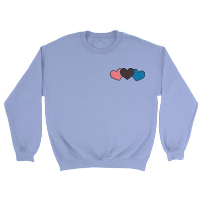 Triple Heart - Embroidered Unisex Sweater