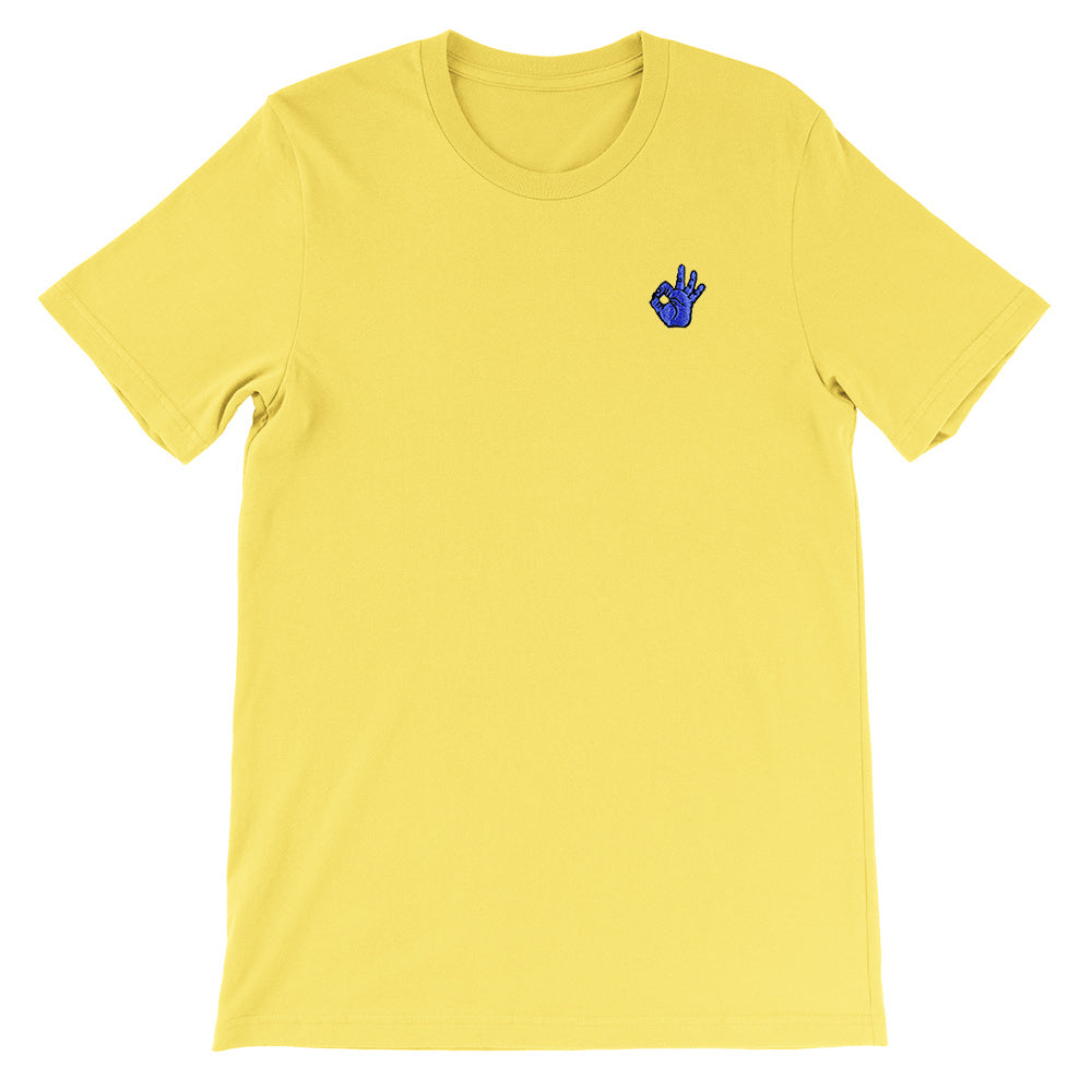 OK Hand Embroidered Unisex T-Shirt Maize Yellow