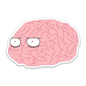 Brainy Die Cut Sticker White