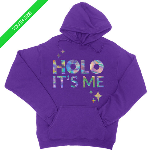 Holo Its Me - Silver Holo - Kids Youth Hoodie Purple