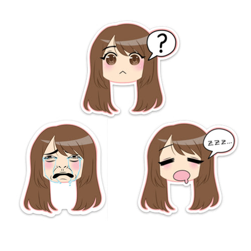 Emirichu Emote Die Cut Sticker Pack White