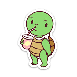 Turtle Slurp - Die Cut Sticker White
