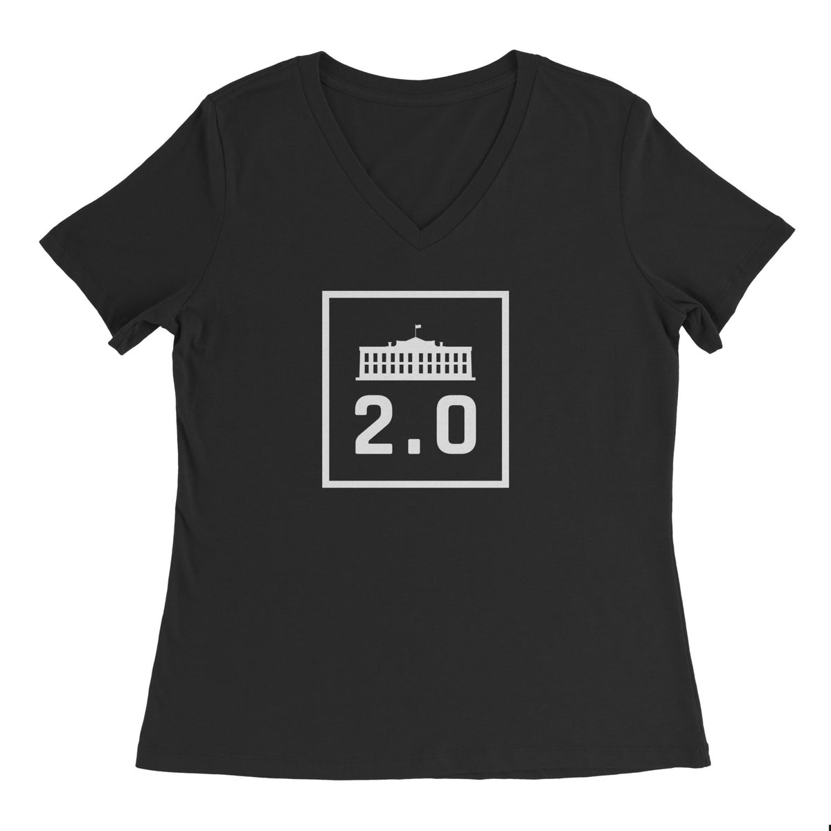 America 2.0 Ladies V-Neck Black
