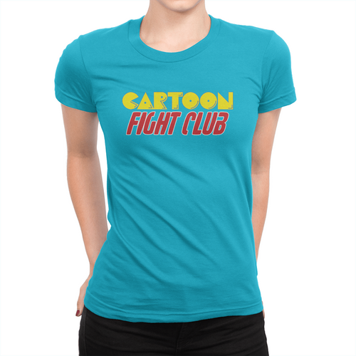 Cartoon Fight Club - Ladies T-Shirt Turquoise