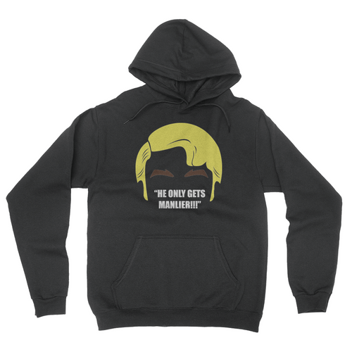 He Only Gets Manlier - Unisex Pullover Hoodie Black