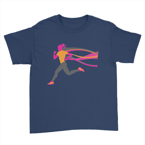Female Runner - Kids Youth T-Shirt Navy