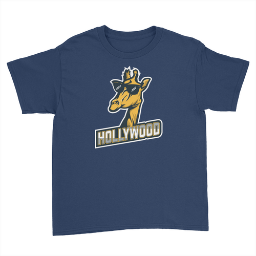 London Hollywood Giraffe - Kids Youth T-Shirt Navy
